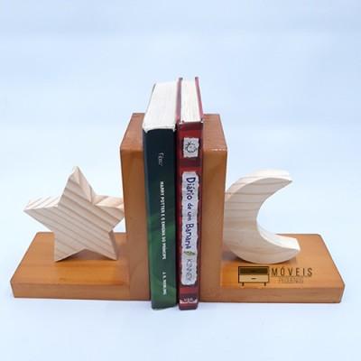 Aparador para livros feito em madeira estrela e lua Suporte para Livros imagem