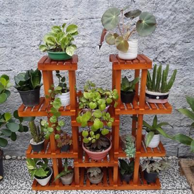 Suporte para vasos de plantas em madeira 07 Suporte para Plantas imagem