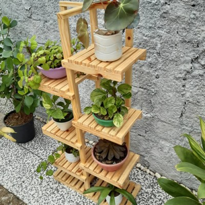 Suporte para vasos de plantas em madeira 13