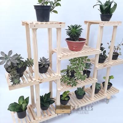 Estante para Plantas feito em madeira modelo 90 Suporte para Plantas, Expositor de Plantas imagem