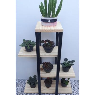 Expositor para Plantas feito em ferro e Madeira modelo 60 imagem