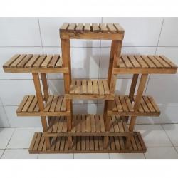 Suporte para vasos de plantas em madeira