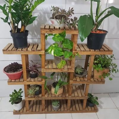 Suporte para vasos de plantas em madeira imagem
