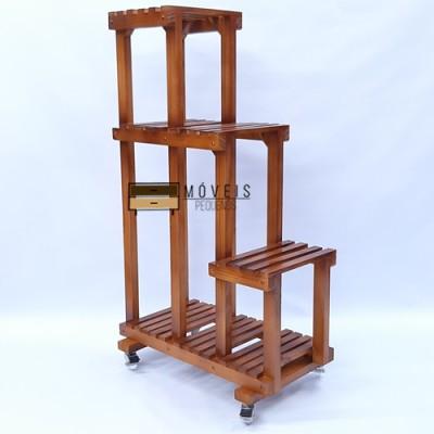 Estante para plantas feito em madeira Modelo 89 Suporte para Plantas, Expositor de Plantas imagem