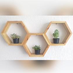 Estante para plantas nichos cor natural 3 peças