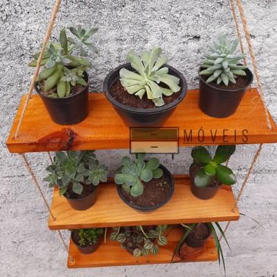 Prateleira madeira para plantas e decoração Suporte para Plantas, Expositor de Plantas imagem
