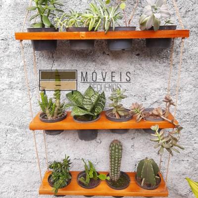 Prateleira de madeira para 12 vasos de plantas imagem