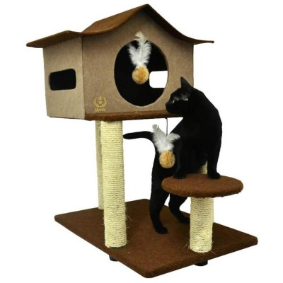Arranhador Para Gatos Casa De Cuco São Pet - Marrom imagem