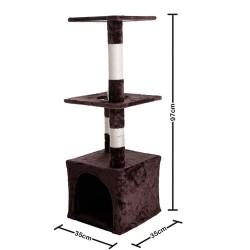 Arranhador para Gatos com Três Bases Bege/Marrom Cat House - Basic+