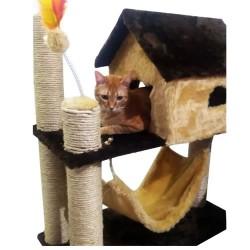 Casinha arranhador de pelúcia para gatos com rede e brinquedo