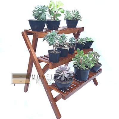 Estante para plantas com 3 prateleiras modelo 78 cor imbuia Expositor de Plantas, Entregas no Brasil imagem