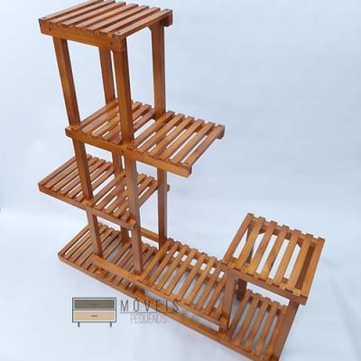 Prateleira para vasos de plantas em madeira modelo 02 imbuia Suporte para Plantas, Expositor de Plantas imagem