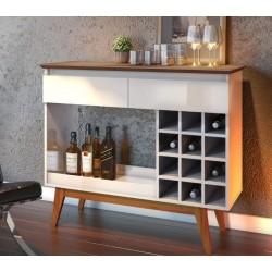 Aparador Bar com Adega 12 Nichos 2 Gavetas Classic Retrô Imcal Off White Freijó