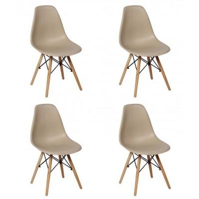 Conjunto 4 Cadeiras Charles Eames Eiffel Wood Base Madeira - Magazine Decor - Nude Cadeiras imagem