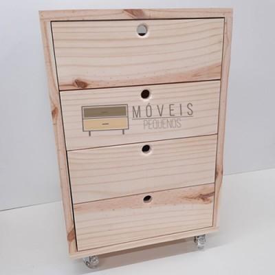 Gaveteiro madeira 4 gavetas e rodas de Silicone Gaveteiro imagem