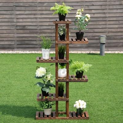 Suporte de planta feito em madeira Suporte para Plantas, Expositor de Plantas imagem