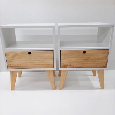Mesa de cabeceira estilo retro frente Madeira 2 peças imagem