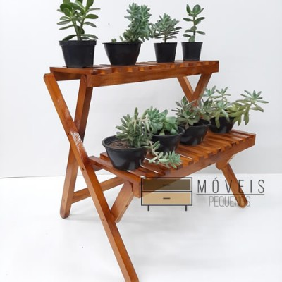 Estante para plantas com 2 prateleiras modelo 79 cor imbuia imagem